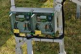 Solar panel renewable energy field — Stock Photo