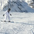 Skiing on fresh snow at winter season at beautiful sunny day — Stock Photo
