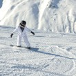 Skiing on fresh snow at winter season at beautiful sunny day — Stock Photo #9216959