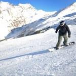 Skiing on fresh snow at winter season at beautiful sunny day — Stock Photo #9216990