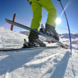 Skiing on fresh snow at winter season at beautiful sunny day — Lizenzfreies Foto