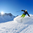 Skiing on fresh snow at winter season at beautiful sunny day — Stock Photo #9217409