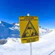 Sign board at High mountains under snow in the winter — Stockfoto #9219298