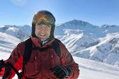 Skiing on fresh snow at winter season at beautiful sunny day — 图库照片