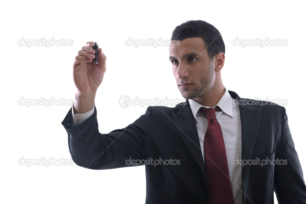 Business man draw with marker on empty copy space isolated on white in studio — Stock Photo #9216414