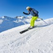 Skiing on fresh snow at winter season at beautiful sunny day — Stock Photo #9233048