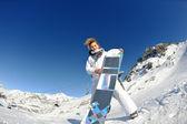 Skiing on fresh snow at winter season at beautiful sunny day — Stock Photo
