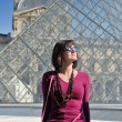Tourist woman have fun in france — Stock Photo
