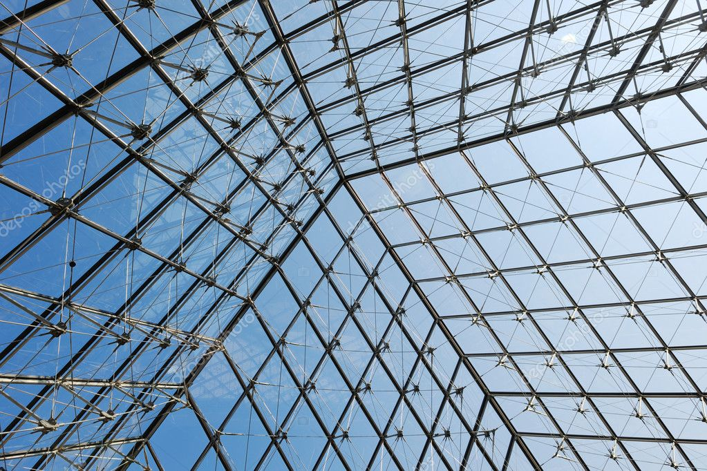 Metal roof top structure with glass construction background from Museum  du Louvre in paris france — Stock Photo #9526944