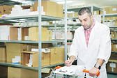 Medical factory supplies storage indoor — Stock Photo