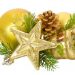 Golden christmas decorations — Stock Photo #7977764