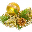 Golden christmas decorations — ストック写真