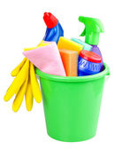 Bucket with cleaning articles — Foto de Stock