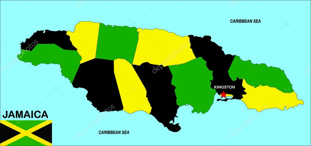 Very big size jamaica political map illustration — Stock Photo #8628897