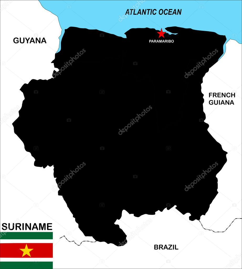 Very big size suriname political map illustration — Stock Photo #8628902