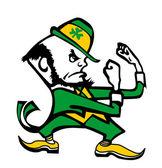 Université de notre dame logo irlandais homme cartoon position de combat — Photo