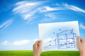 New house outline — Stock Photo