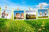 счастливые семьи коллаж — Стоковое фото