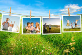 Glad familj collage — Stockfoto