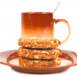 Stock Photo: Oatmeal cookies on brown plate.