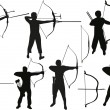 Stock Vector: Set of archers isolated on white