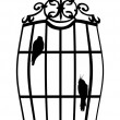 Two birds in cage isolated on white — Stock Vector