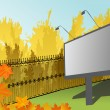 Billboard near autumn park — Vector de stock