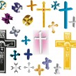 Collection of isolated crosses — Stock Vector