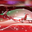 Sleigh with deers winer red illustration — Imagens vectoriais em stock
