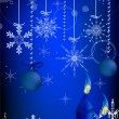 Blue Christmas tree decorations and candles — Vetor de Stock  #8544056