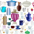 Large collection of isolated ware - Stock Vector