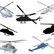 Set of seven helicopters isolated on white - Stock Vector