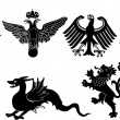 Eight heraldic animals on white - Stock Vector