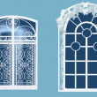 Two windows on blue background - Stock Vector
