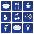 Food and drink related blue icons - Stock Vector