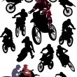 Collection of racer silhouettes — Stock Vector
