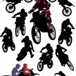 Collection of racer silhouettes - Stock Vector
