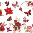 Set of red flowers and butterflies isolated on white — Stock Vector