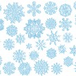 Lage set of light blue snowflakes - Stock Vector
