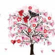 Pink heart tree illustration — Stock Vector