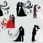Set of six wedding couples — Stock Vector #8544673