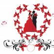 Stock Vector: Wedding couple in red butterflies frame