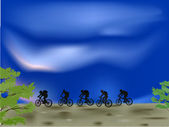 Group of outdoor cyclist silhouettes — Stock Vector