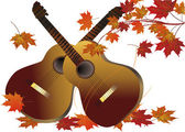 Two guitars and fall maple leaves — Stock Vector