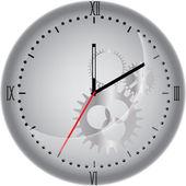 Beyaz izole gears ile saat — Stok Vektör