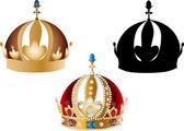три короны, изолированные на белом фоне — Cтоковый вектор