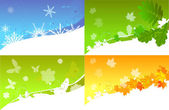Set of four seasons backgrounds — Cтоковый вектор