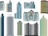 Set of eleven modern buildings — Stock Vector