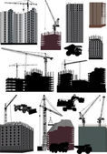 Set of isolated buildings and cranes — Stock Vector