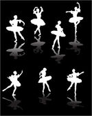 Seven white ballet dancers with reflections — Stock Vector